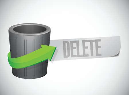 delete: trash can and paper delete message. illustration design over white
