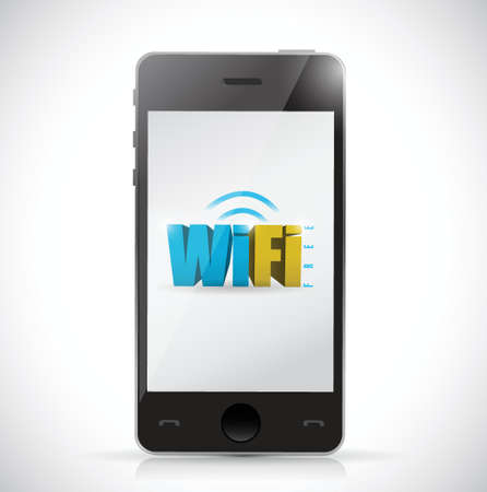 wi fi icon: phone free wifi connection illustration design over a white background