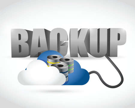 data exchange: Backup sign connected to a server cloud. illustration design over white