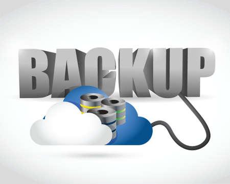 Copia de seguridad de señal conectado a una nube de servidores. ilustración, diseño en blanco