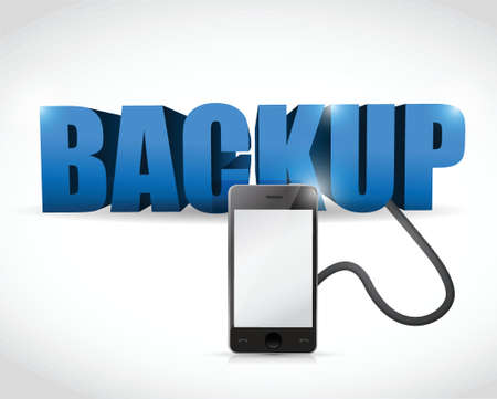 cellphone: Backup sign connected to a smartphone. illustration design over white