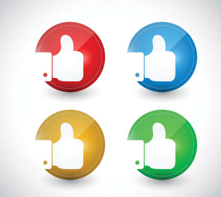 thumbs up buttons seals illustration design over a white background