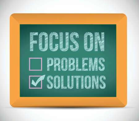 focus on solutions check mark illustration design over a board