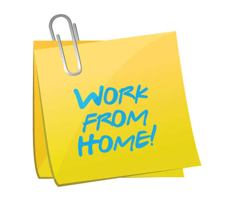 post it note: work from home post message illustration design over white