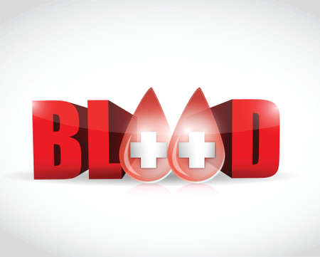 hematology: blood and word illustration design over a white background
