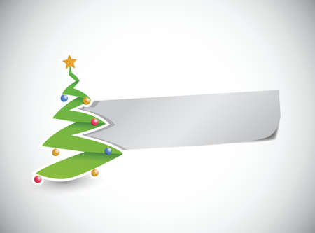 etiquete: christmas tree and a blank paper for messages. illustration design
