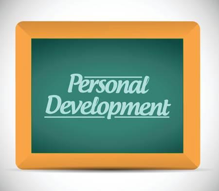 superacion personal: desarrollo mensaje personal escrito en una pizarra de dise�o ilustraci�n