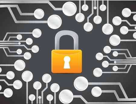 electronic background: lock security electronic circuit illustration design graphic background over black