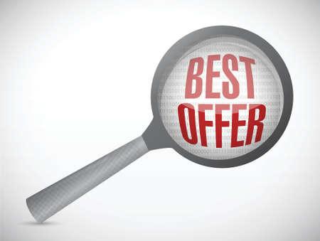 best offer under magnify search investigation illustration design over a white background Illustration