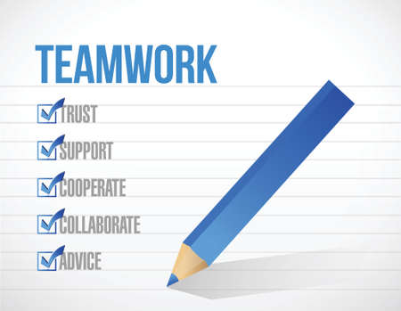 teamwork check mark list illustration design background. over a notepad Vettoriali