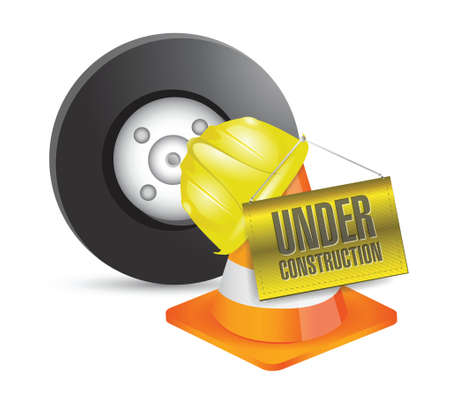 work in progress: vehicle under construction sign illustration design over a white background Illustration