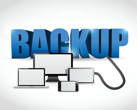 data recovery: Backup sign connected to electronics. illustration design over white