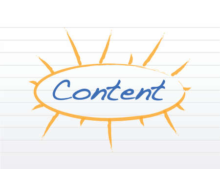 keywords link: word content circle over a white piece of paper. illustration design