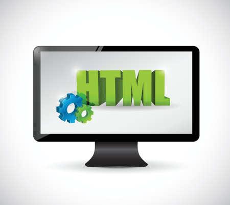monitorare html segno di design illustrazione su uno sfondo bianco Vettoriali