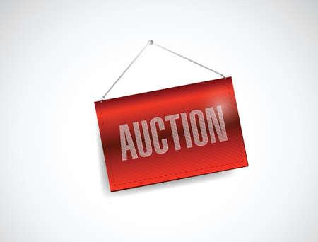 online bidding: auction red hanging banner illustration design over white