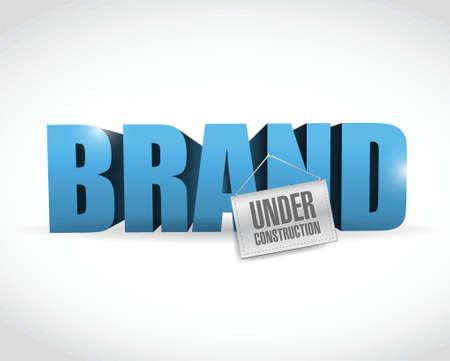 marca con la muestra de la construcción Diseño de la ilustración en blanco