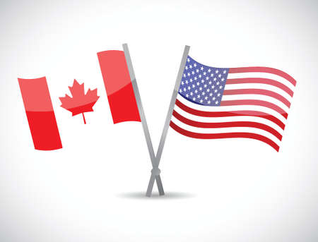 canada and us partnership concept illustration design over white Vector