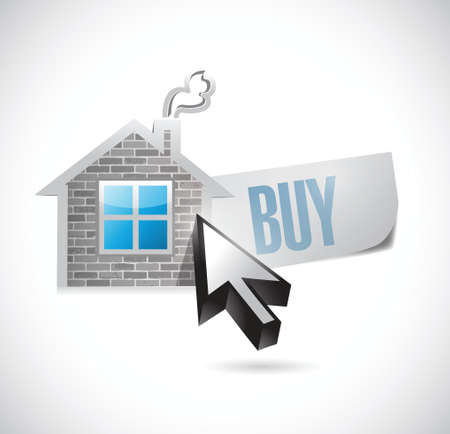 buy house: house and buy message illustration design over white