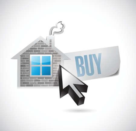 Huis en koop bericht illustratie ontwerp over wit Stock Illustratie