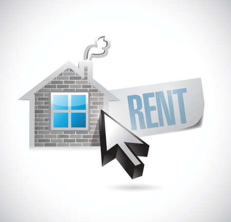 rent: house and rent message illustration design over white