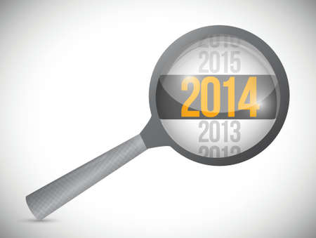 postit note: year 2014 over a magnify glass. illustration design over white