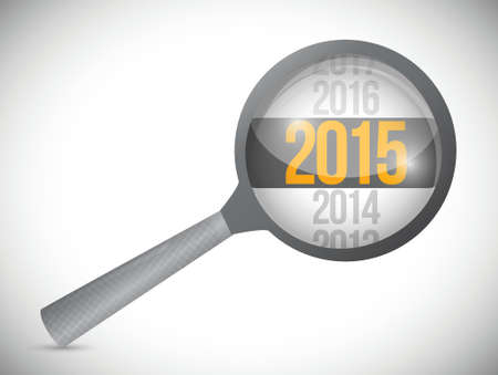 year 2015 over a magnify glass. illustration design over white