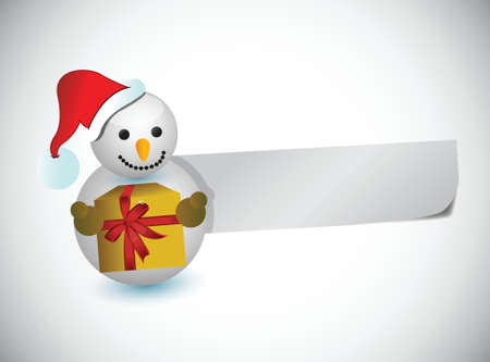 christmas snowman and a blank paper for messages. illustration design
