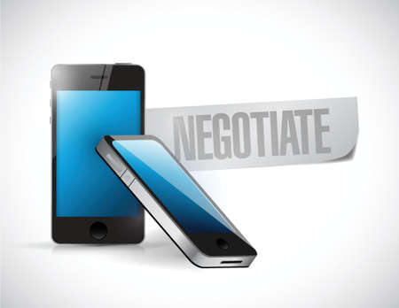 negotiator: phones with the word negotiate written on a piece of paper Illustration