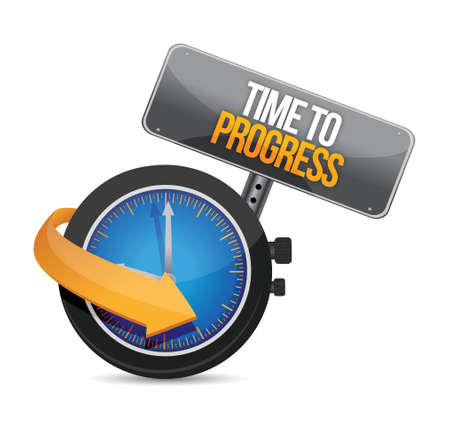 time to progress watch illustration design over white Stock Vector - 23718860
