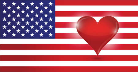the heart of the US. usa flag and heart. illustration design