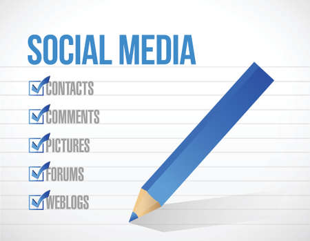 social media check mark list illustration design background. over a notepad