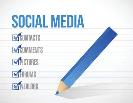 wikis: social media check mark list illustration design background. over a notepad