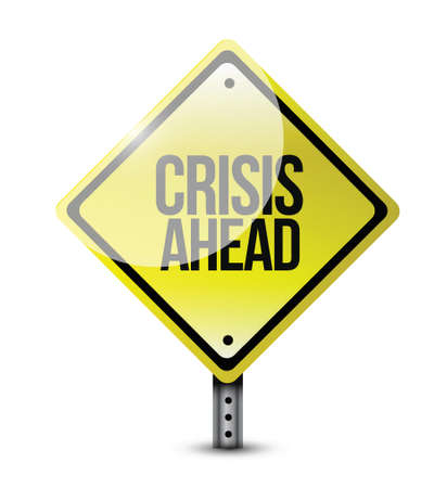 derrumbe: crisis por delante señal de ilustración, diseño, camino, encima, blanco