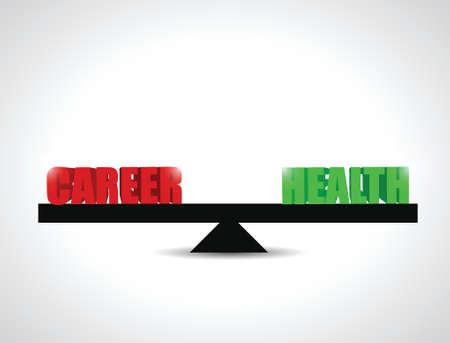 life balance: career versus health balance illustration design over a white background