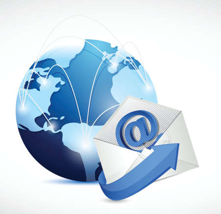 email icon: contact us network communication illustration design over white