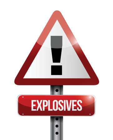 explosives warning road sign illustration design over white Vector