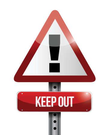 keep out warning road sign illustration design over white