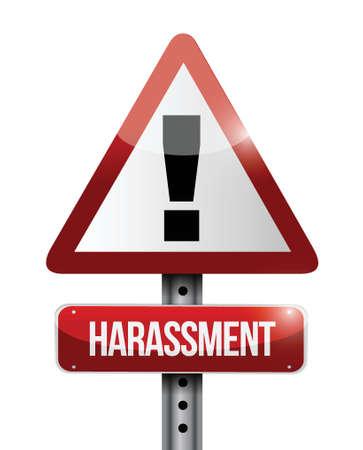 annoying: harassment warning road sign illustration design over a white background