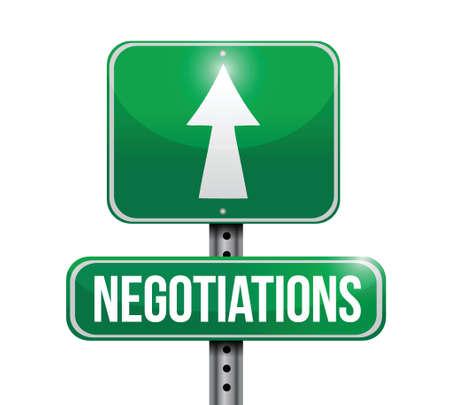 negotiations: signo negociaciones carretera ilustraci�n dise�o sobre un fondo blanco