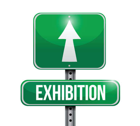 exhibition road sign illustration design over a white background