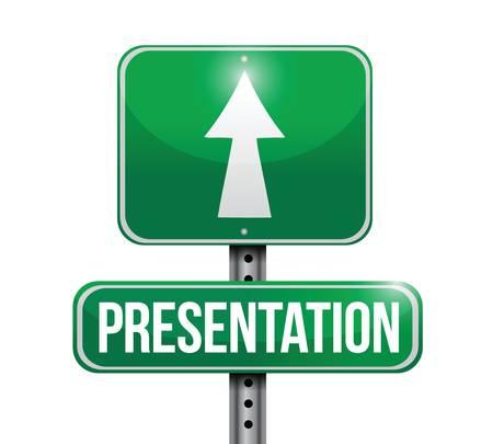 presentation road sign illustration design over a white background