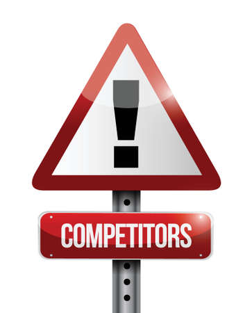 concurrenten waarschuwing illustratie ontwerp verkeersbord op een witte achtergrond