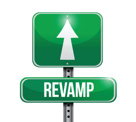 revamp road sign illustration design over a white background Çizim