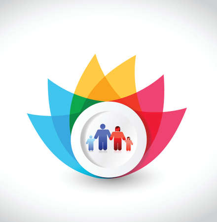 color family flower illustration design over a white background