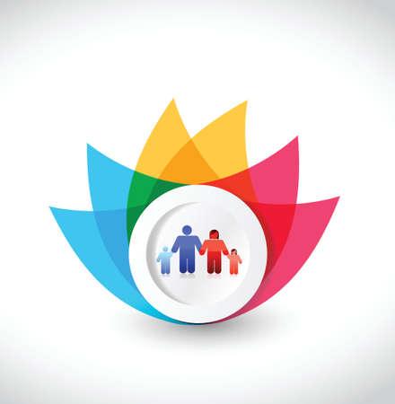 kleur bloem familie illustratie ontwerp op een witte achtergrond