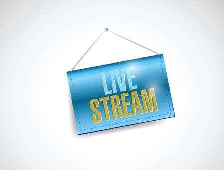 live stream hanging banner illustration design over white Vector