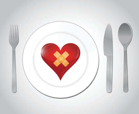food for a broken heart concept illustration design over white Vector