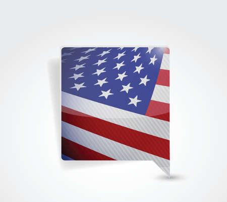 speak english: USA american message bubble illustration design over a white background