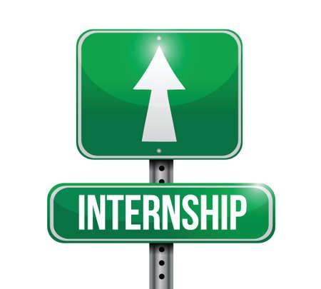 internship road sign illustration design over a white background Illustration