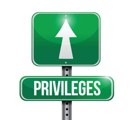 privileges: privileges road sign illustration design over a white background